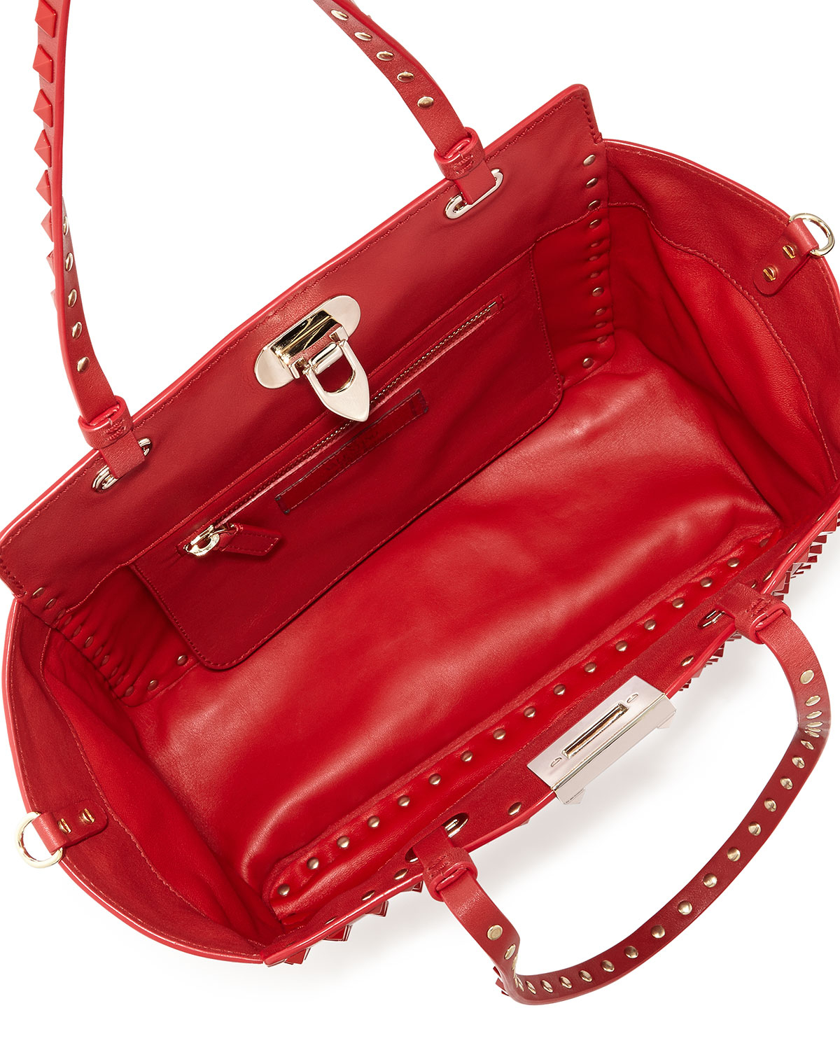Valentino Rockstud Mini Leather Studded Tote Bag Red in Red | Lyst