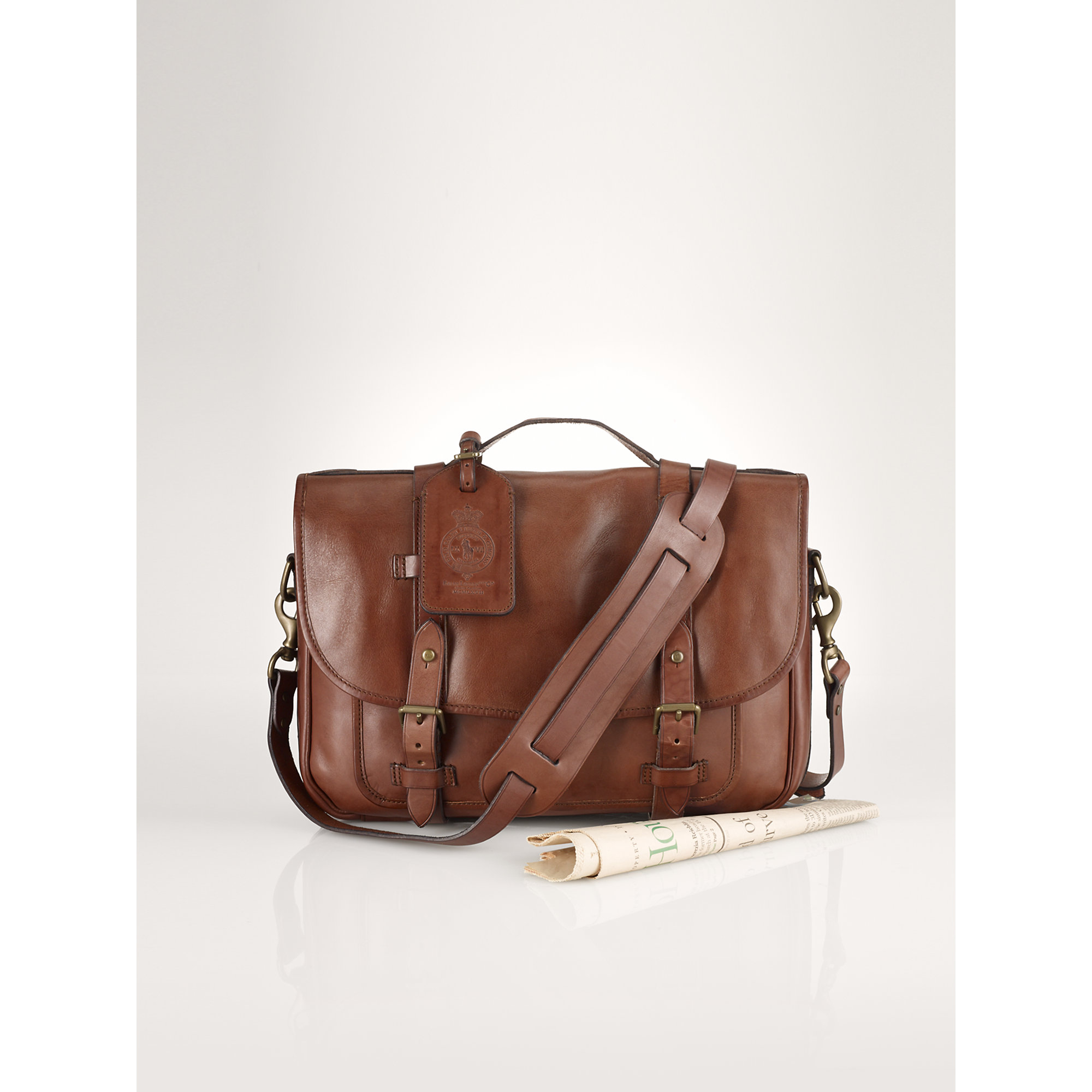 Lyst - Polo Ralph Lauren Small Leather Messenger Bag in Brown for Men 1fc936663eea0