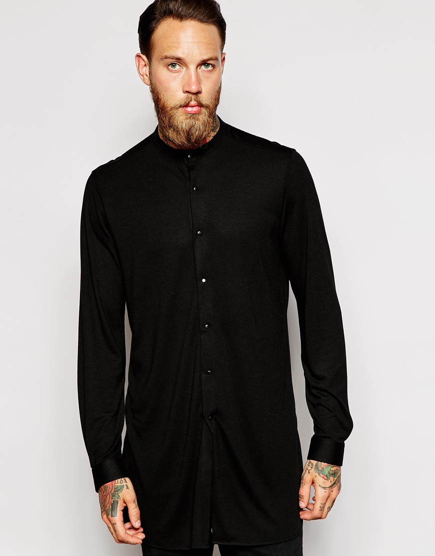 Lyst - Asos Jersey Shirt In Super Longline With Grandad Collar in ...