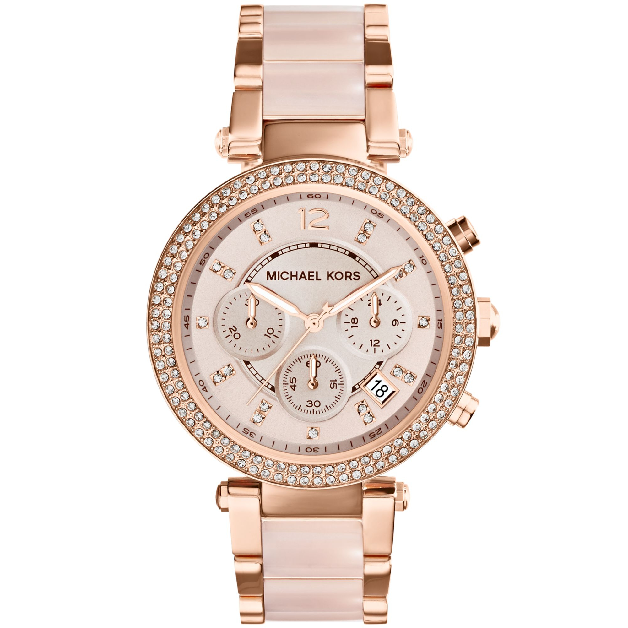 michael kors womens chronograph parker blush and rose
