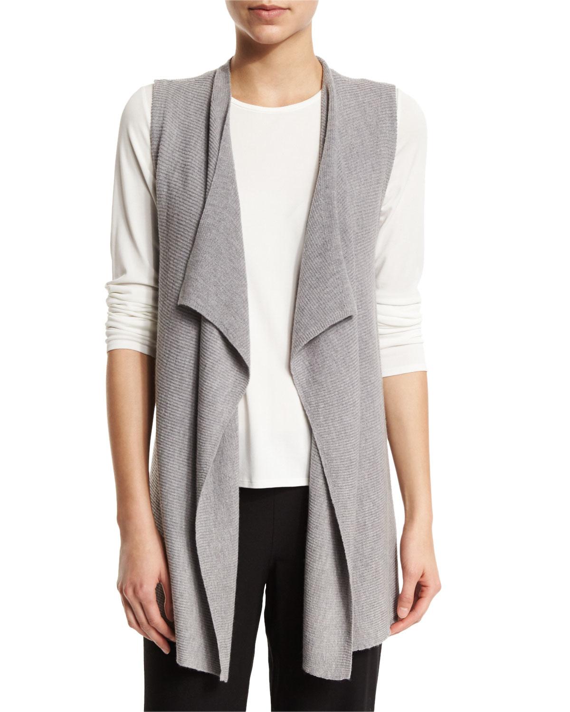 Lyst Eileen Fisher Organic Linen Blend Draped Front Vest