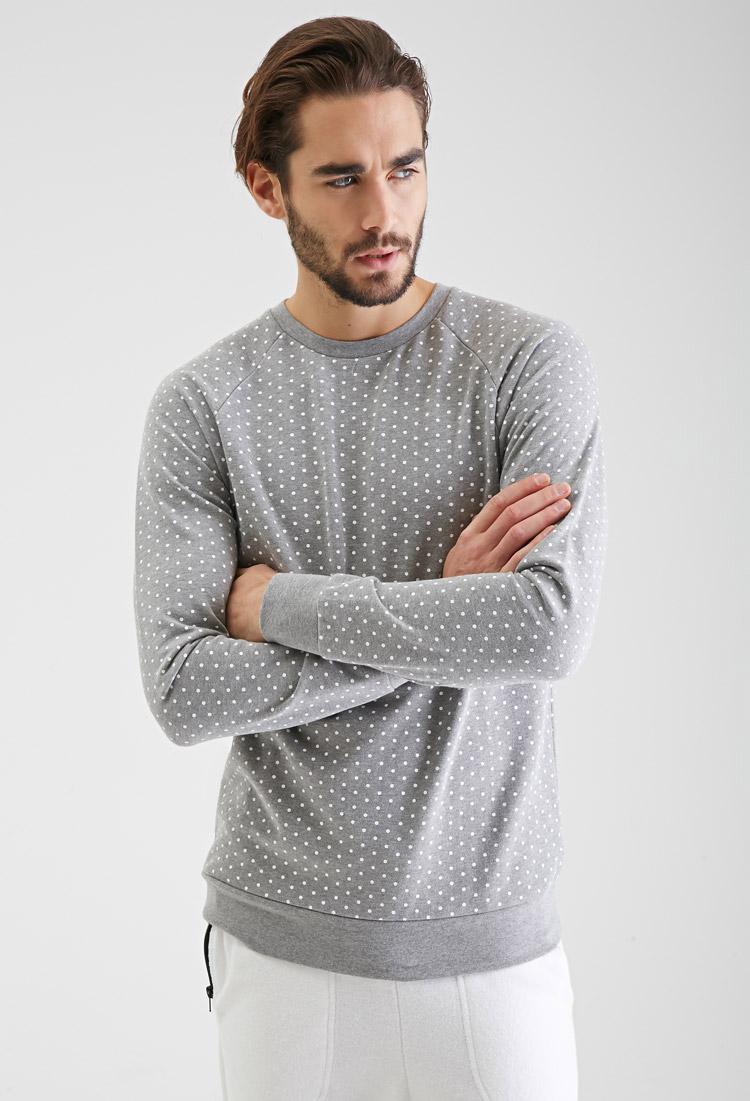 Lyst Forever 21 Heathered Polka Dot Sweatshirt In Gray For Men