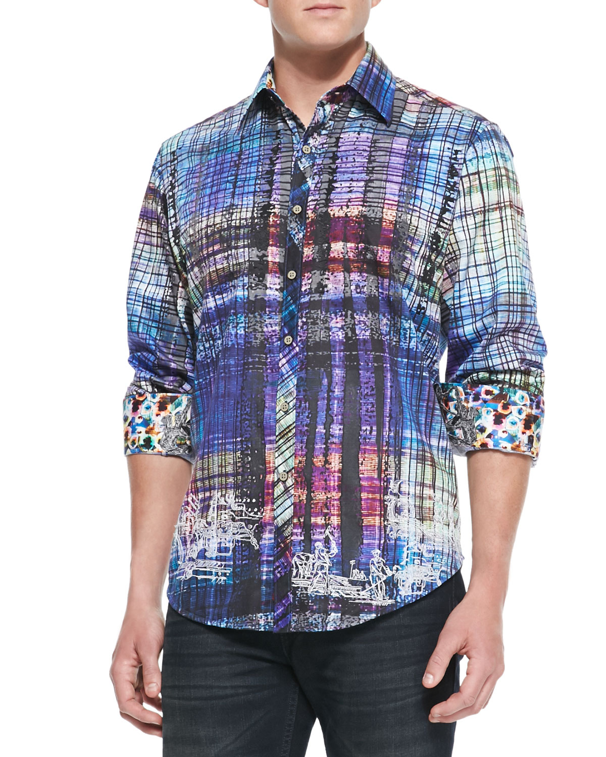 Robert graham gingerman abstract plaid sport shirt in for Where are robert graham shirts made
