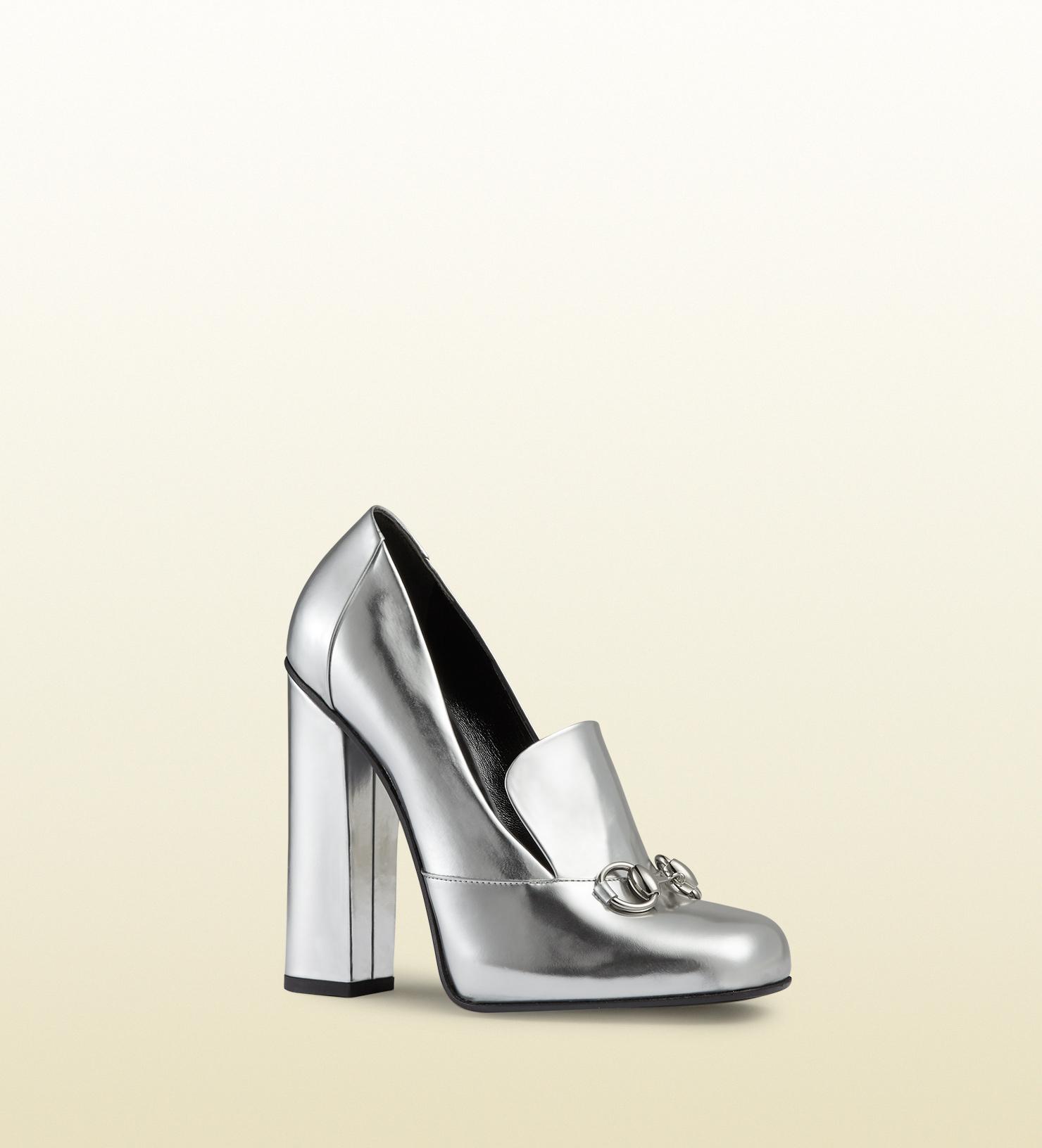 Metallic leather loafer pumps Gucci 3yeJXG