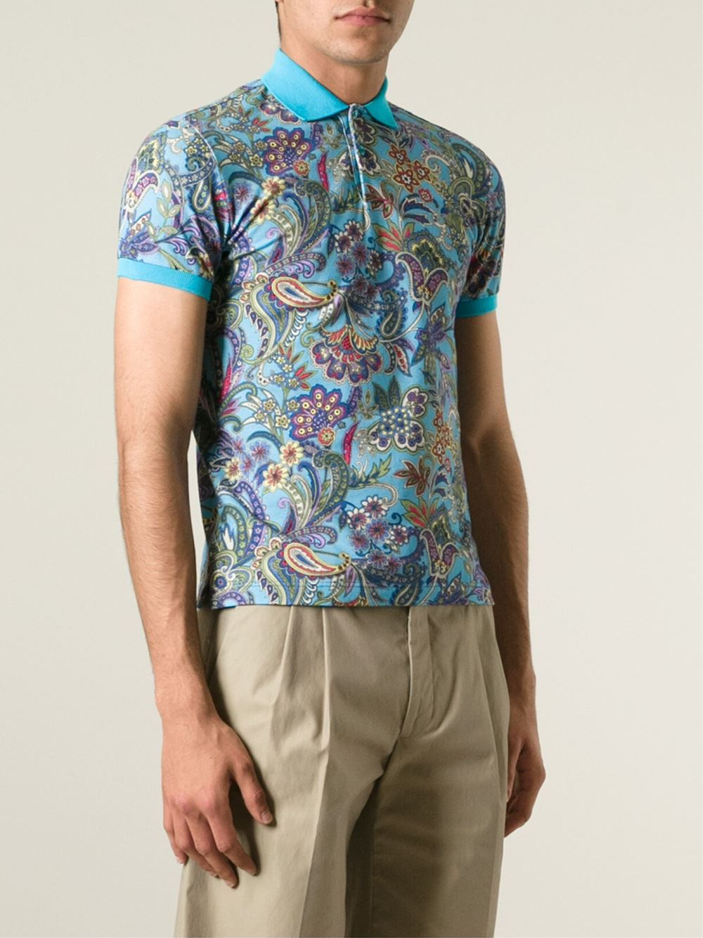Etro floral paisley polo shirt in blue for men lyst for Blue floral shirt mens