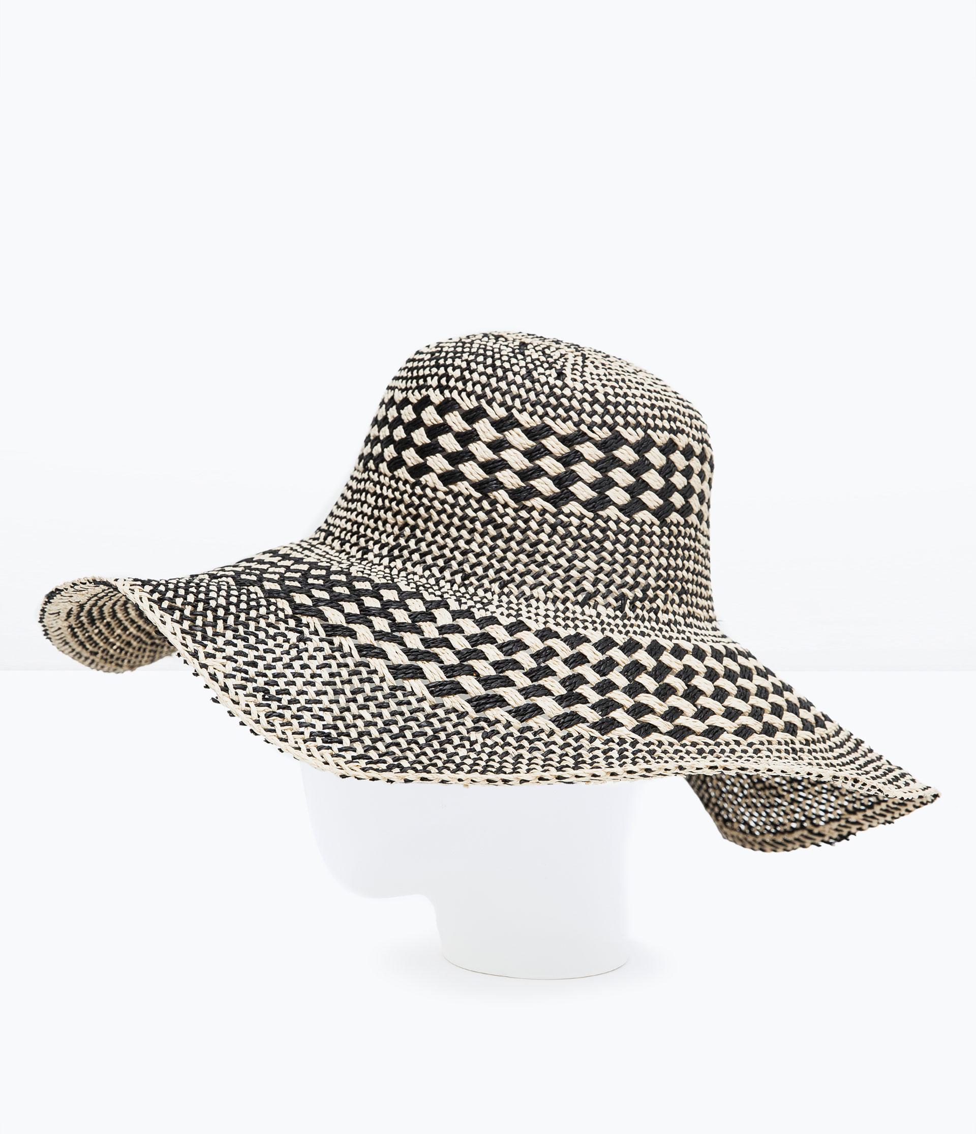 zara two tone wide brim hat in black lyst