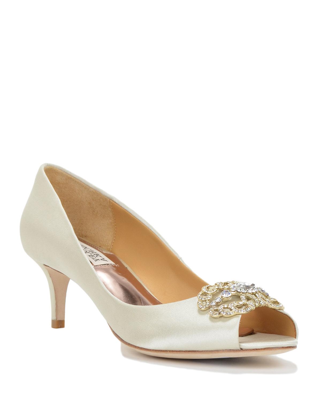 badgley mischka sensation embelished evening shoe in white
