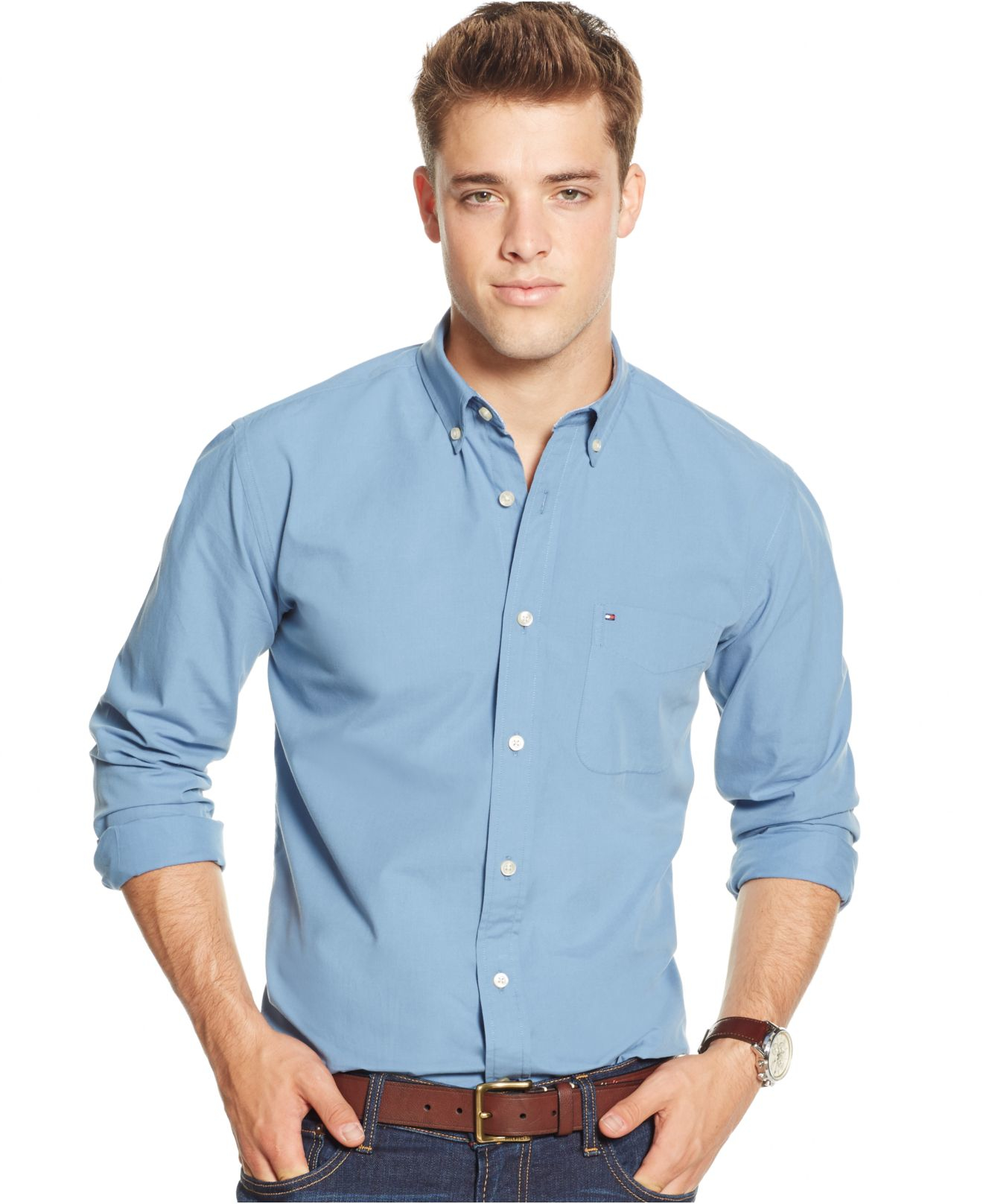 Tommy Hilfiger Solid Long Sleeve Button Down Shirt In Blue