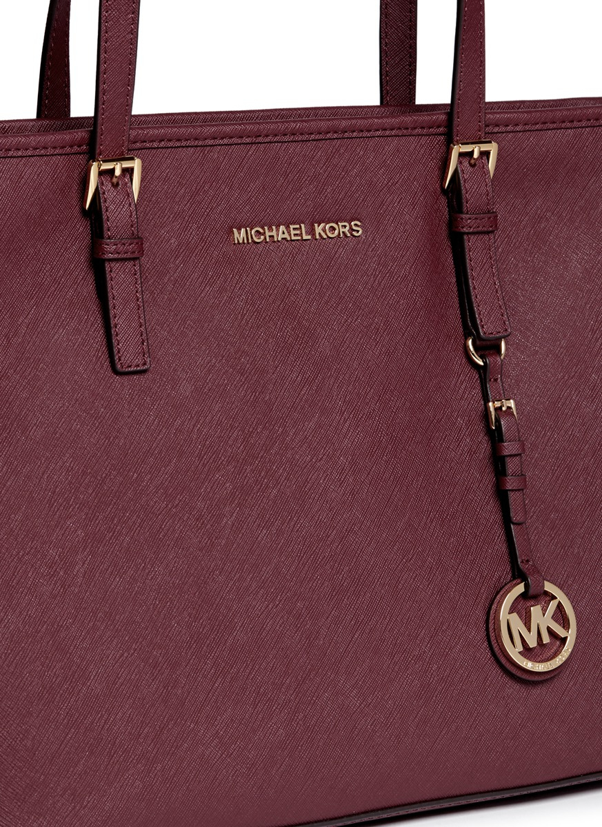 9a6bd7dc368339 Michael Kors Jet Set Travel Saffiano-Leather Tote in Brown - Lyst