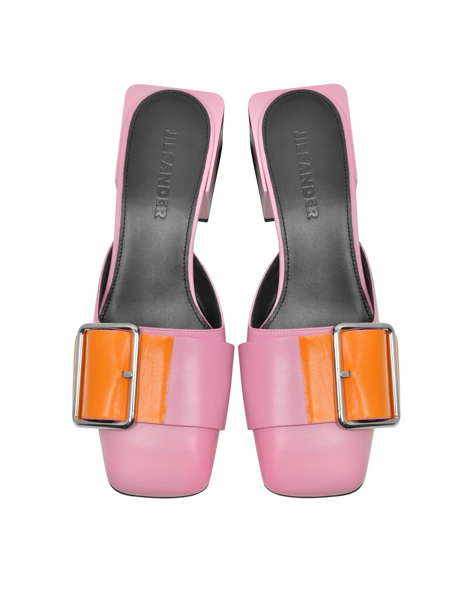 Lyst Jil Sander Pink Amp Orange Leather Mid Heel Mule In