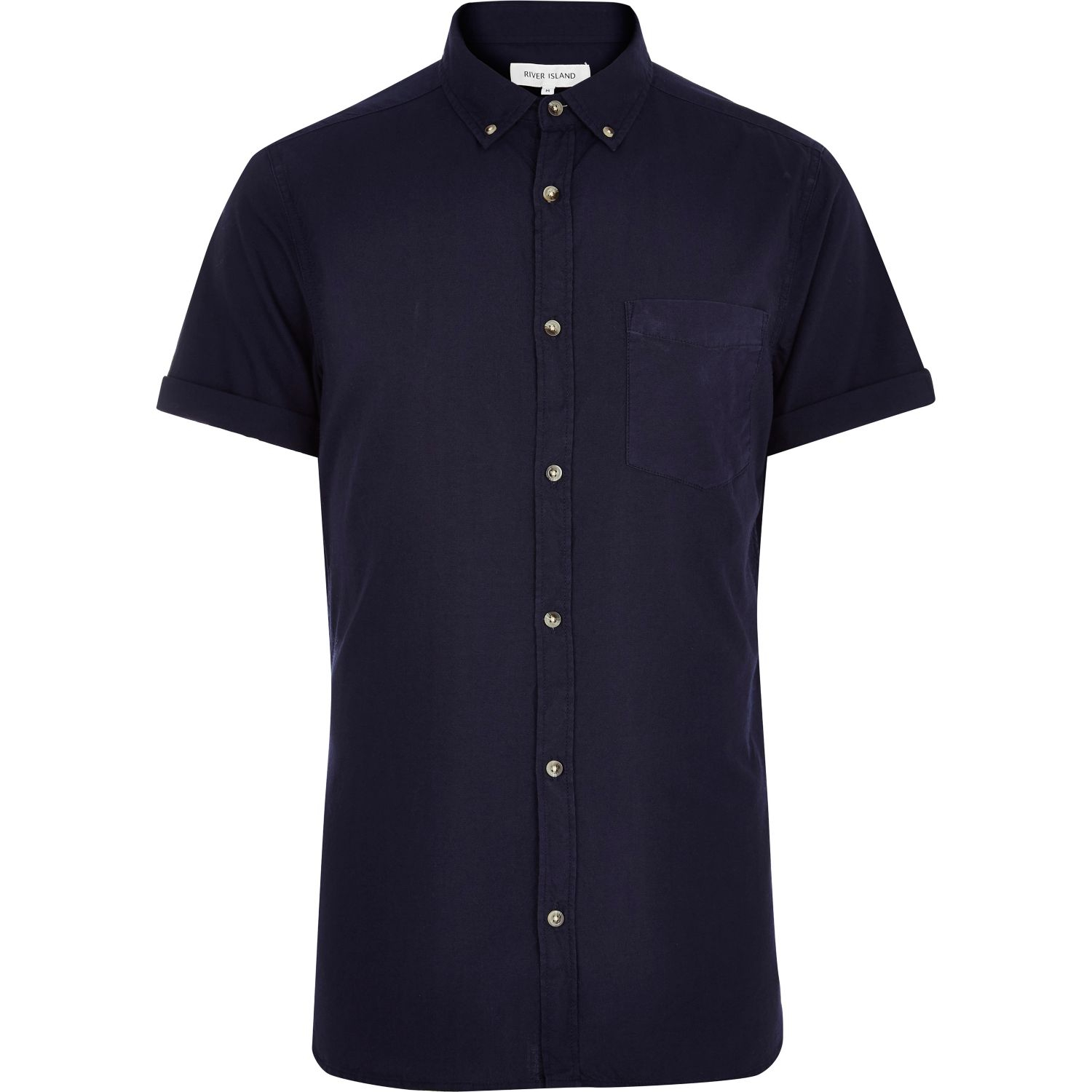 Lyst River Island Navy Blue Short Sleeve Oxford Shirt In