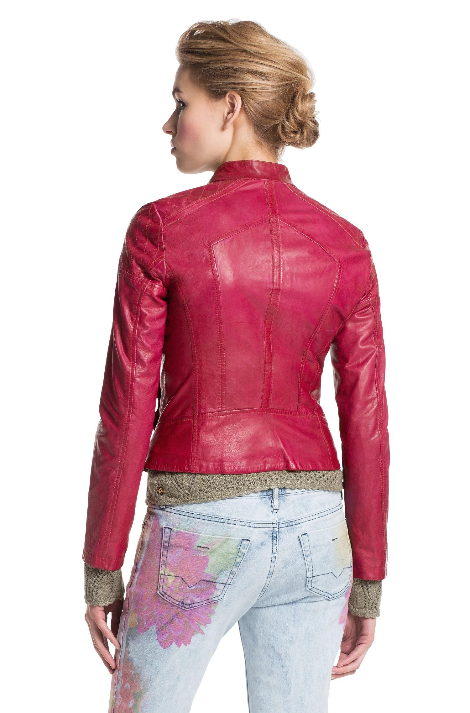 Boss Orange Leather Jacket Janassila In Lambskin In Pink