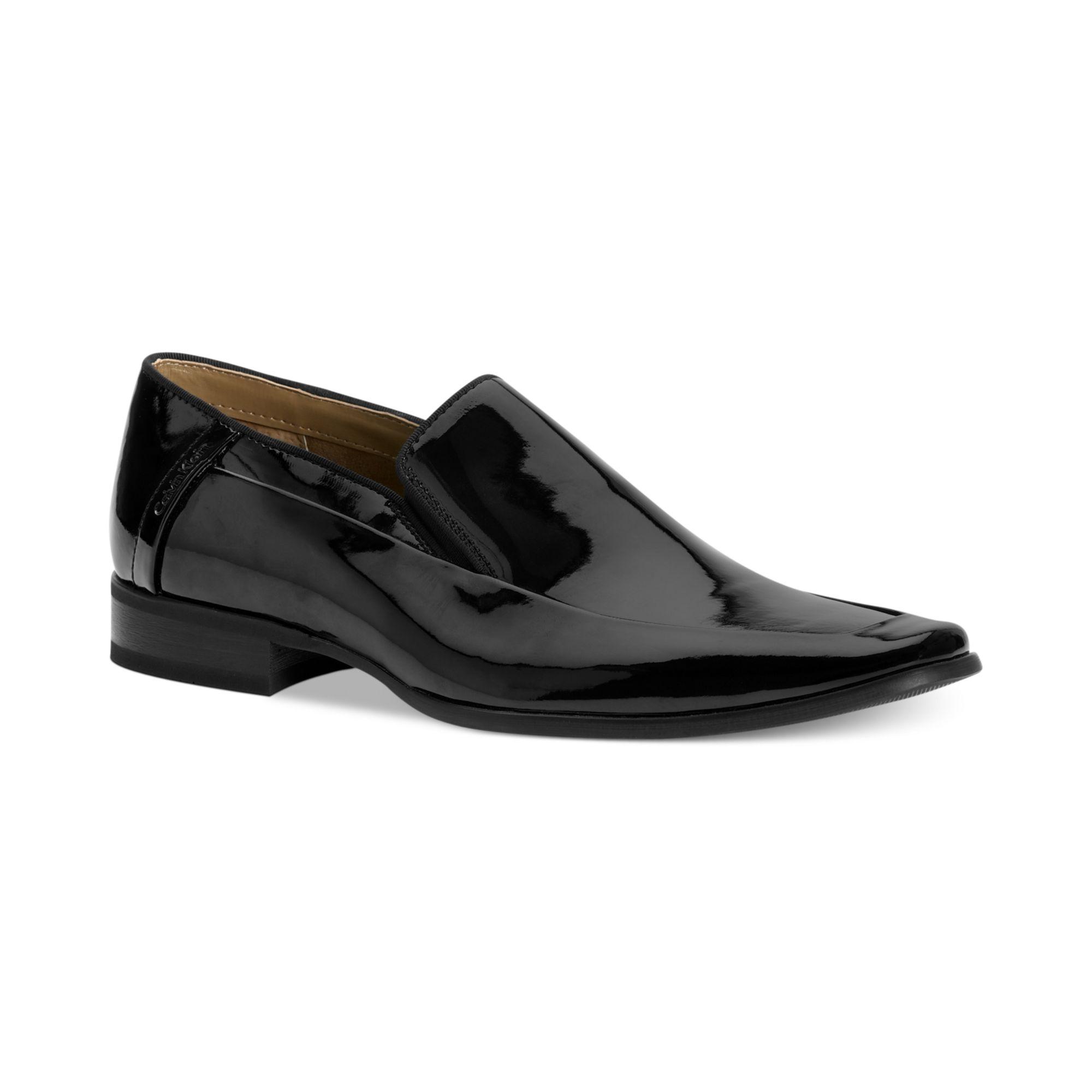 calvin klein brad patent moc toe slip on shoes in black. Black Bedroom Furniture Sets. Home Design Ideas