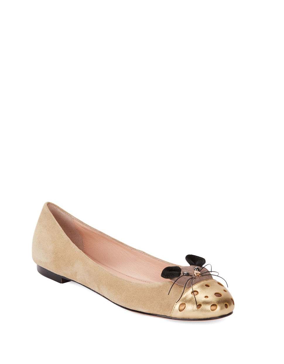 Lyst kate spade new york suede mouse flats in brown for Kate spade new york flats