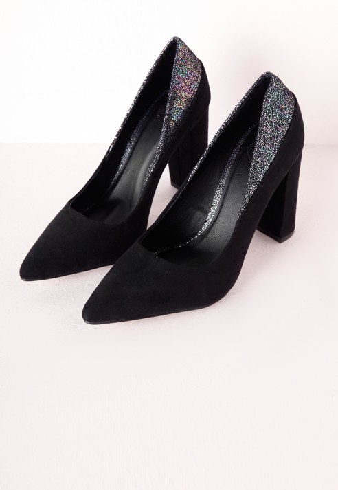 c757dc6f122 Missguided Contrast Pointed Block Heel Court Shoes Black in Black - Lyst