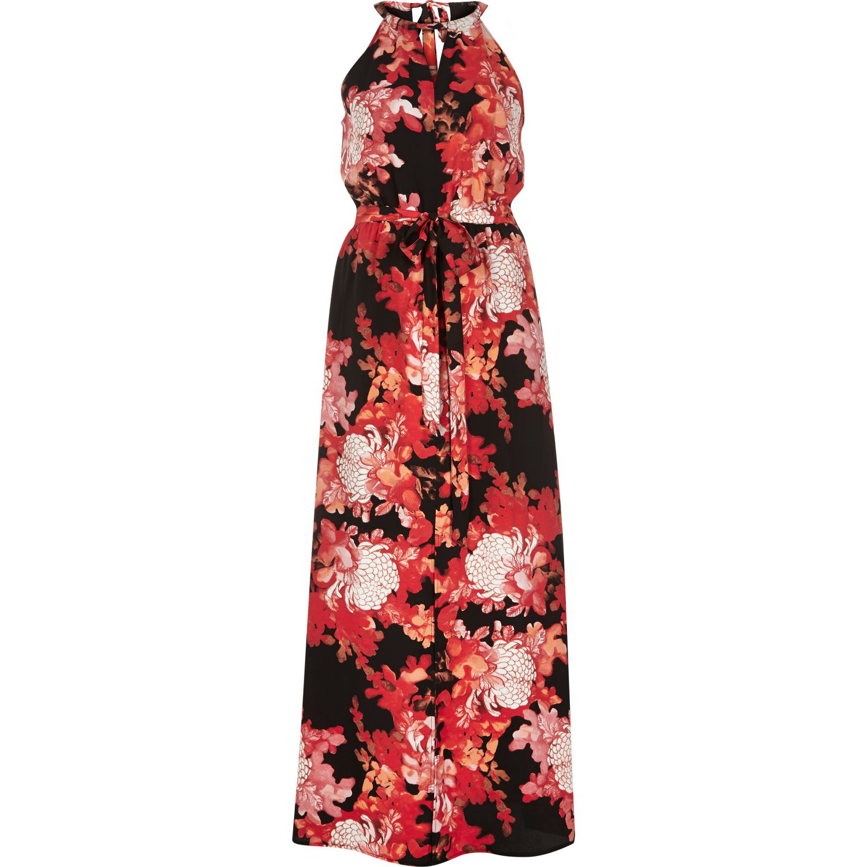 Lyst River Island Red Floral Print Halterneck Maxi Dress