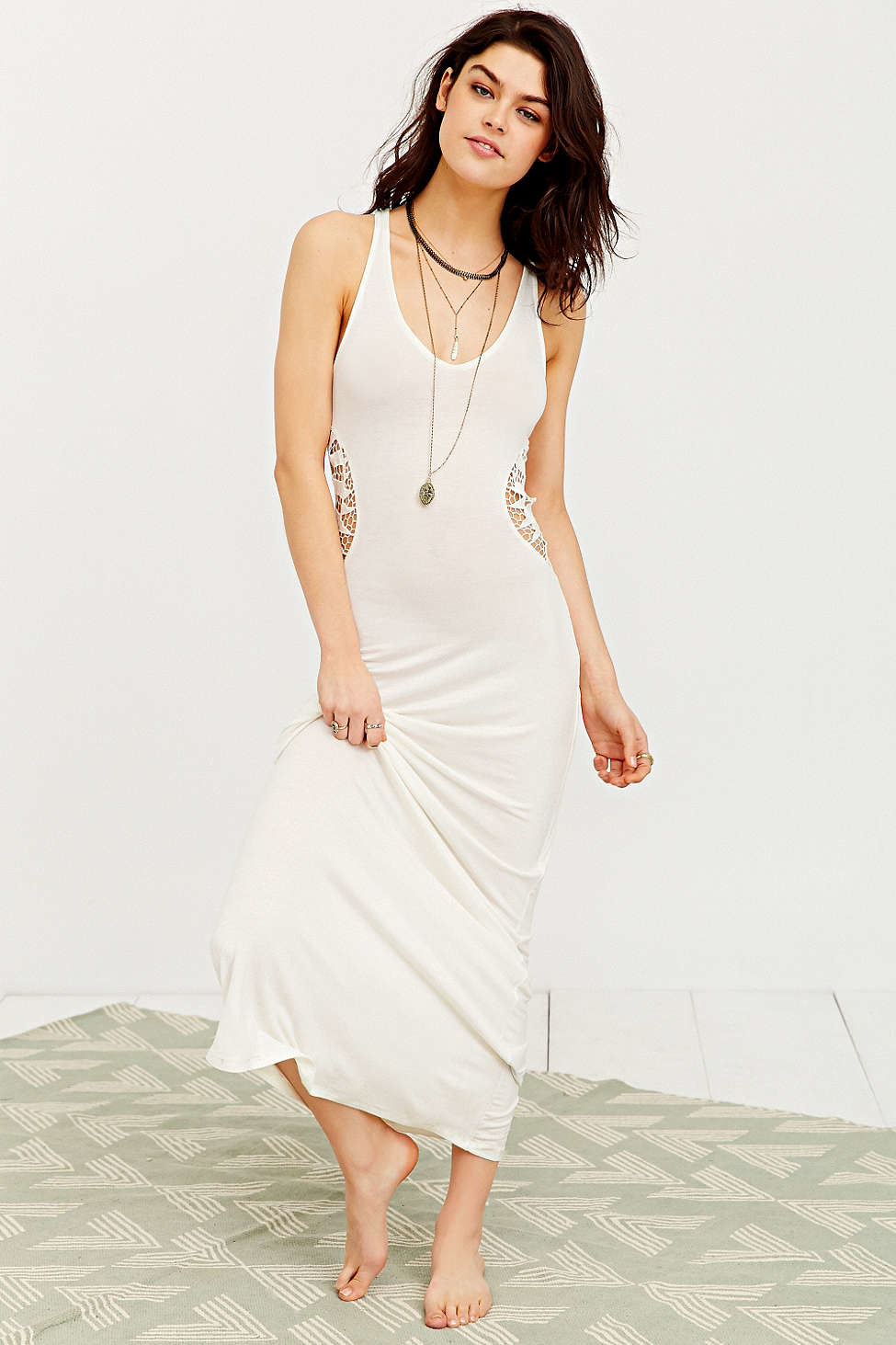 Lyst Staring At Stars Crochet Cutout Cover Up Maxi Dress In Natural