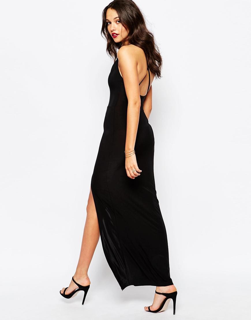 8a34d888569 Boohoo Thigh High Split Maxi Dress in Black - Lyst