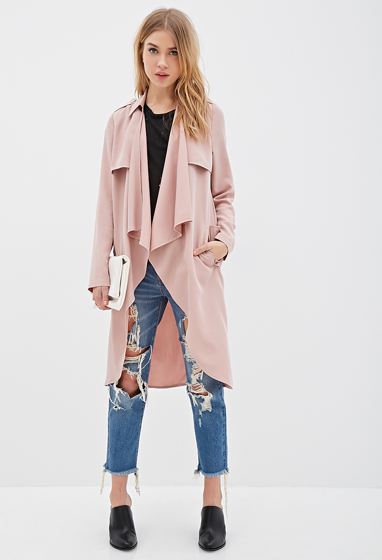 Forever 21 Longline Draped Open-front Jacket in Pink | Lyst