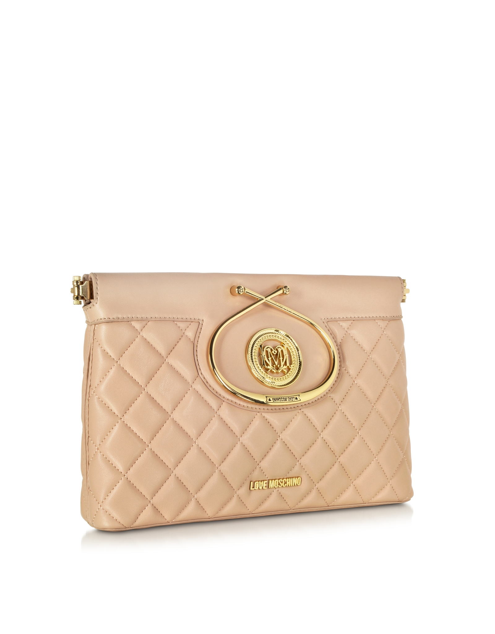 love moschino nude quilted eco leather clutch in pink nude lyst. Black Bedroom Furniture Sets. Home Design Ideas