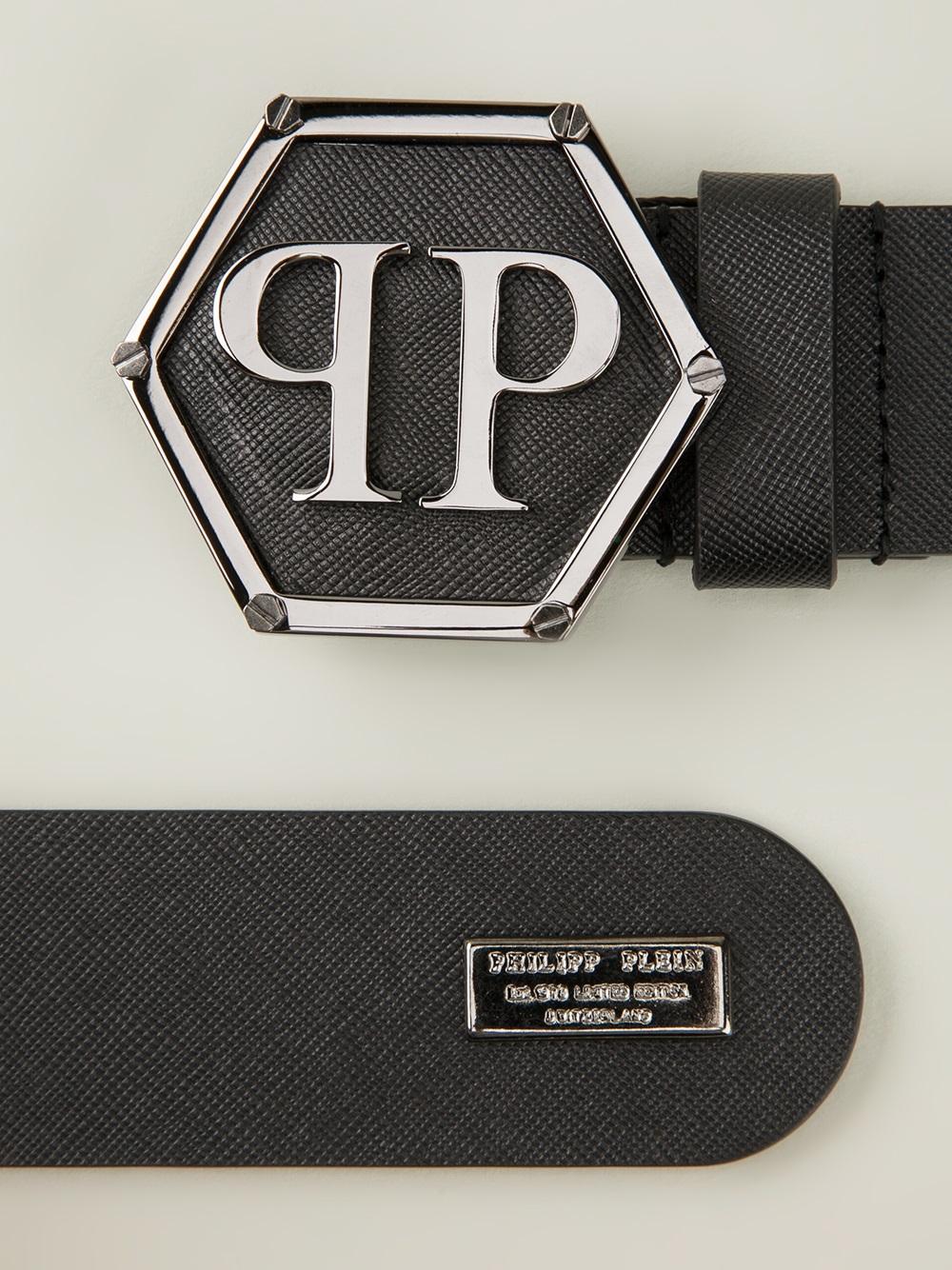 lyst philipp plein logo buckle belt in black for men