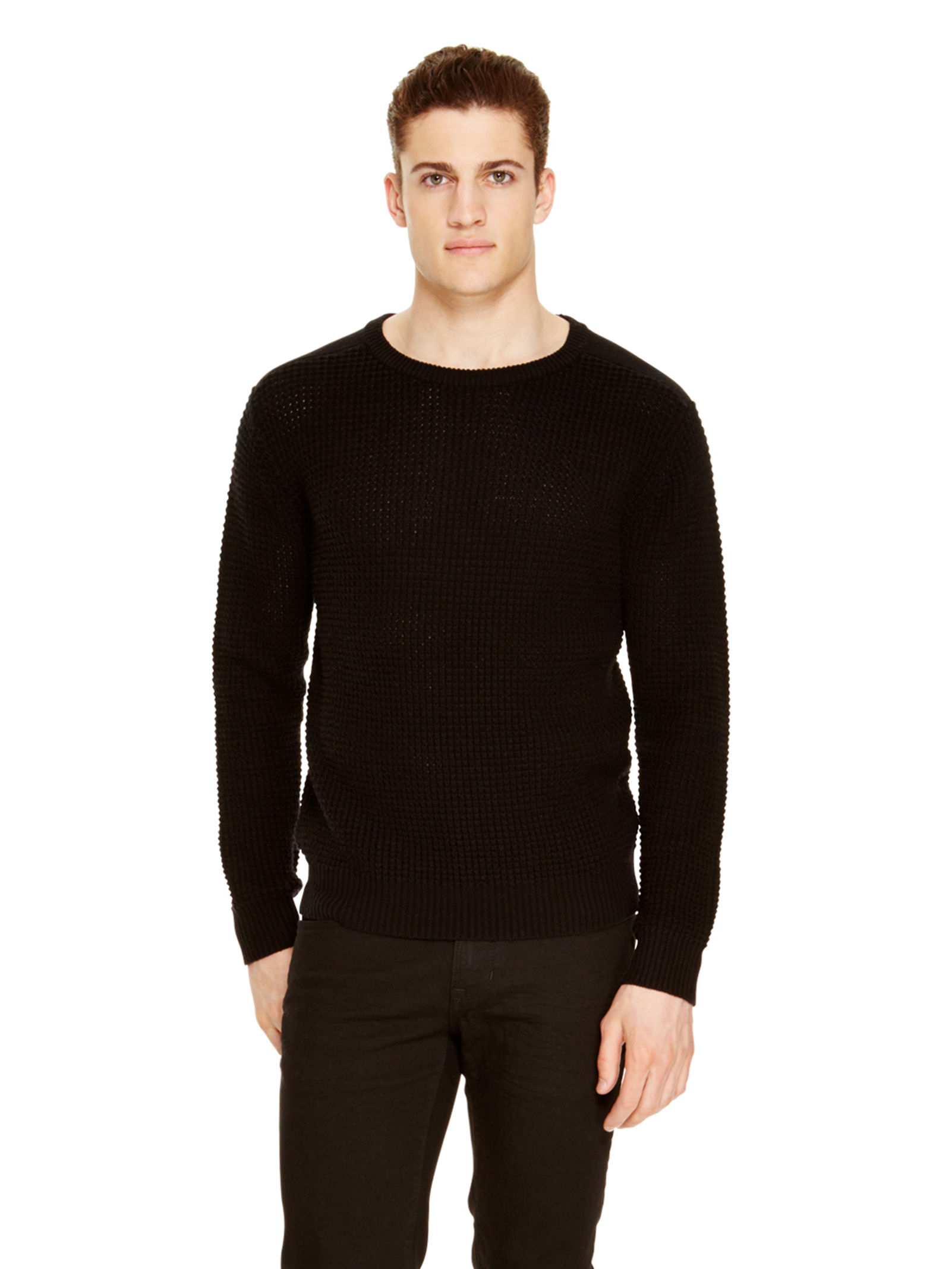 Dkny Waffle Stitch Merino Wool Sweater in Black for Men | Lyst