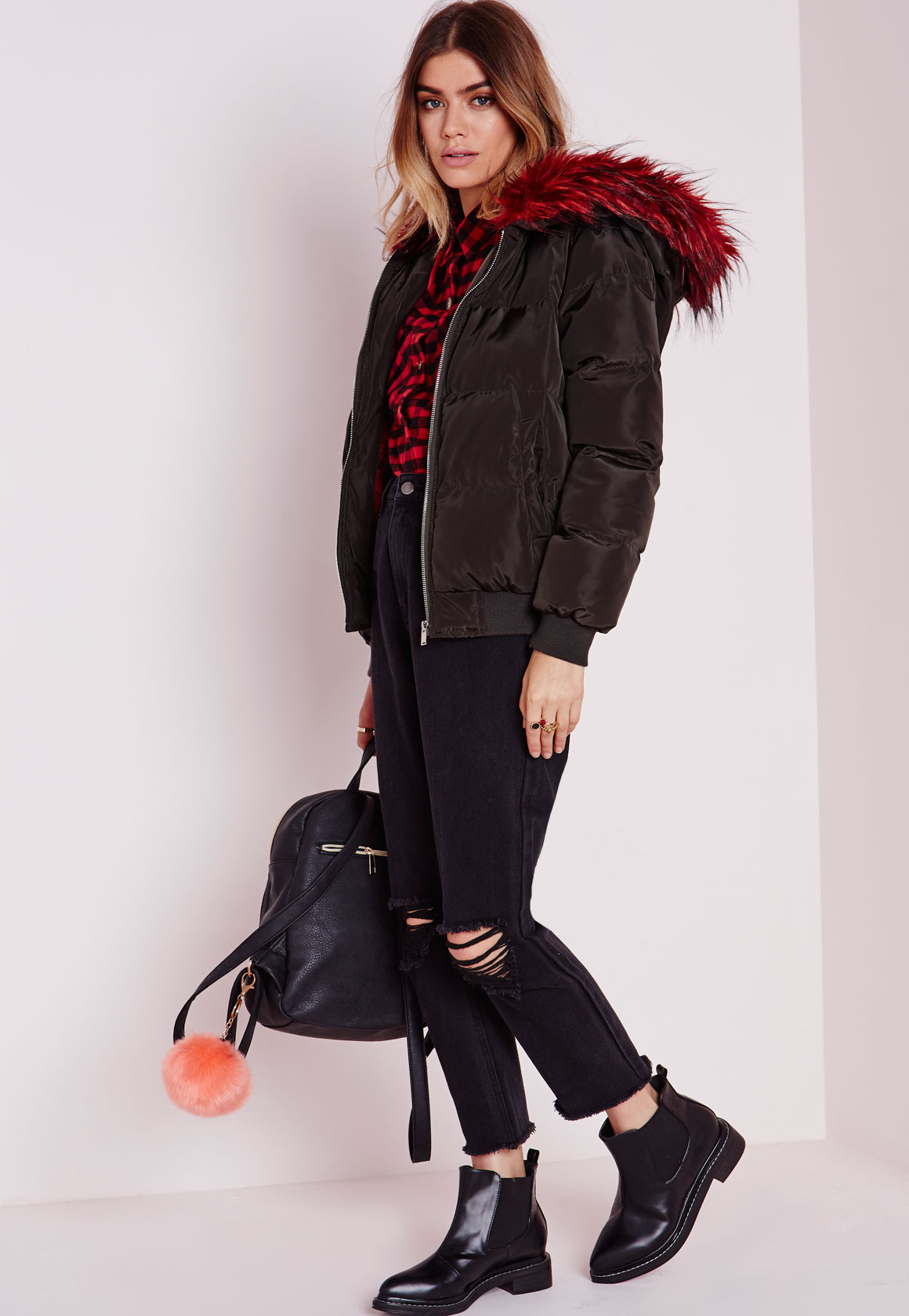 Missguided Padded Bomber Jacket With Contrast Fur Hood Khaki in ...