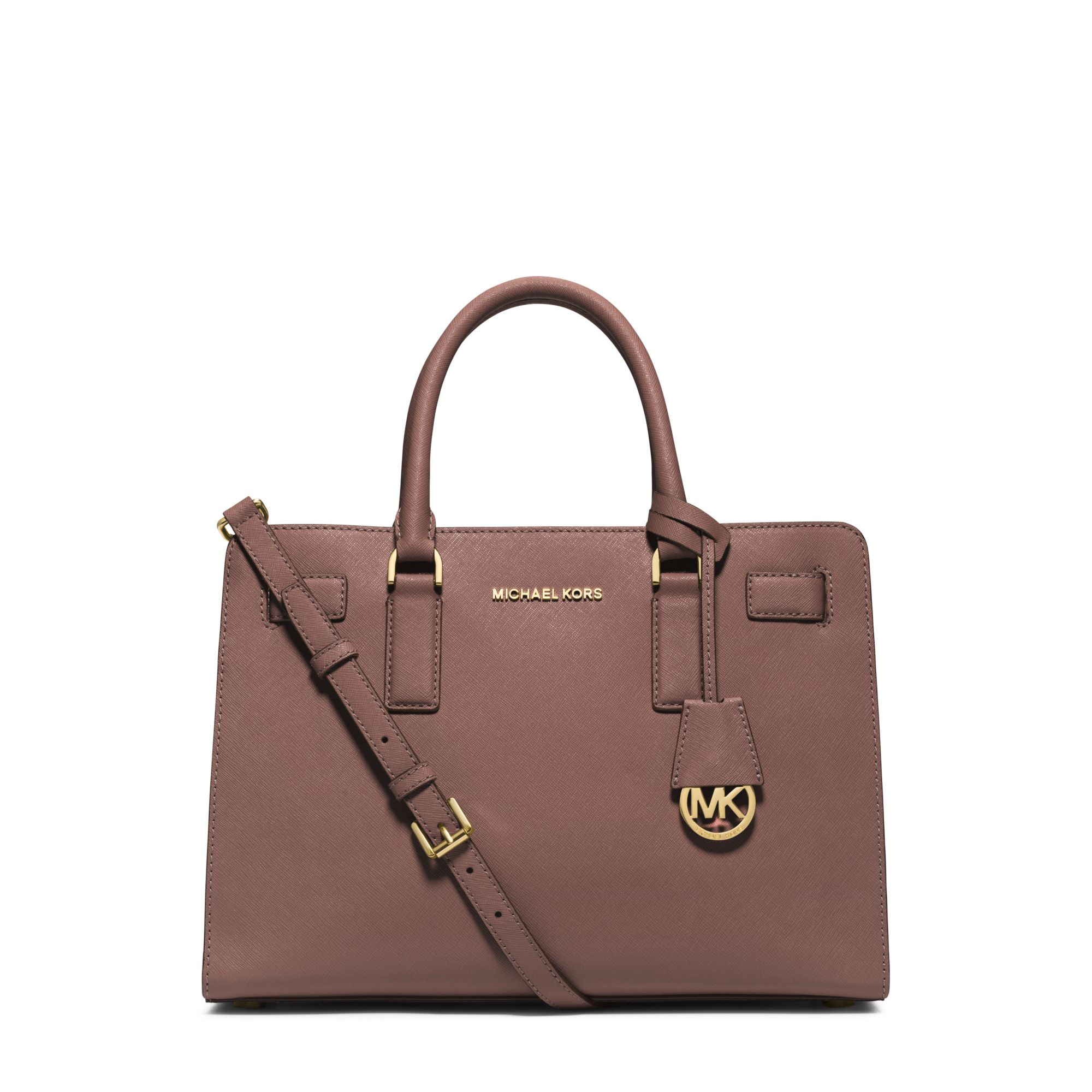 Michael Kors Laukkukoru : Michael kors dillon saffiano leather satchel in pink lyst
