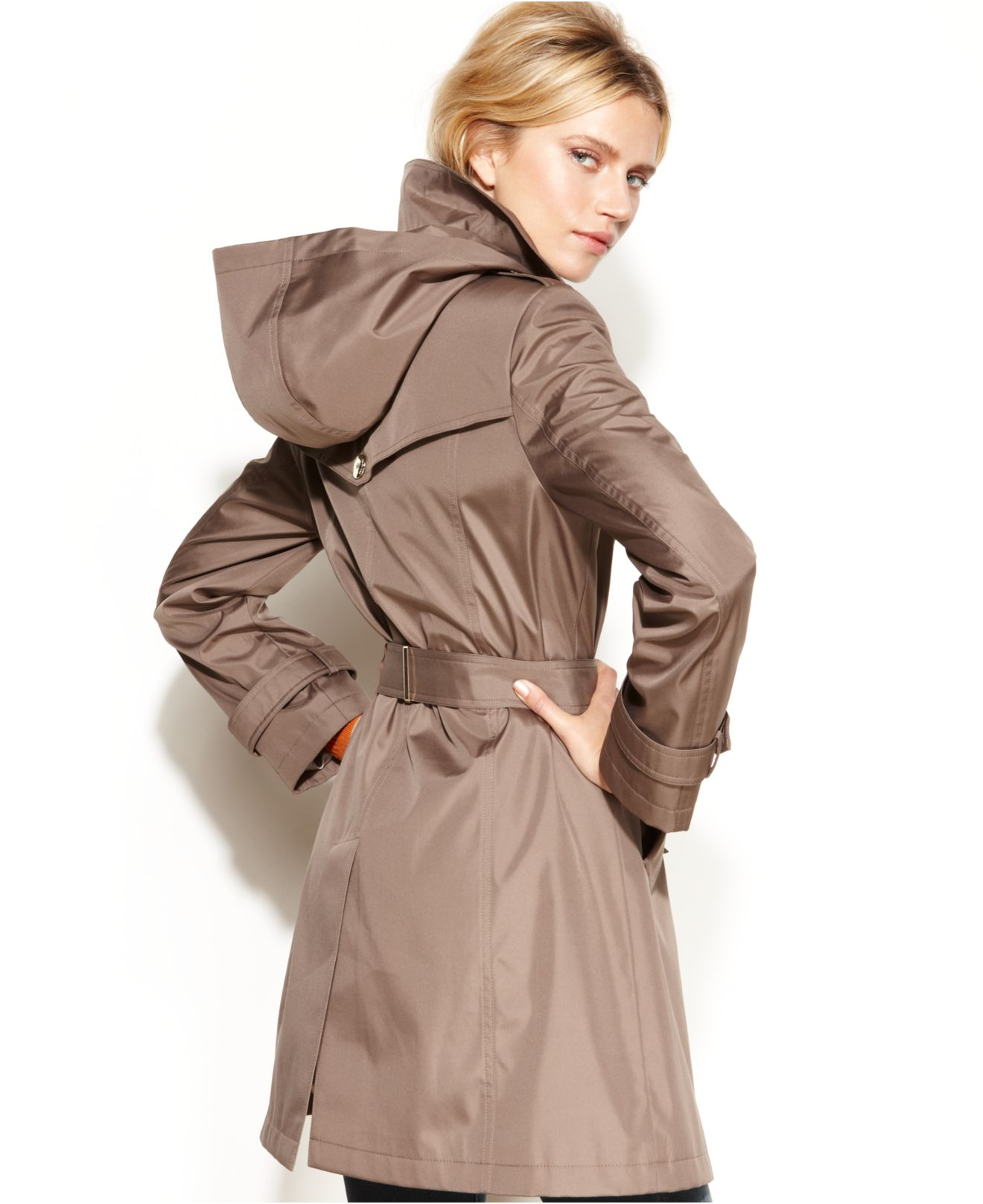 Calvin klein Hooded Belted Trench Coat in Brown | Lyst