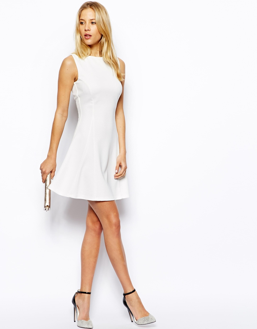 e79c1a9dc28a Lyst - ASOS Ribbed Fit And Flare Skater Dress in White