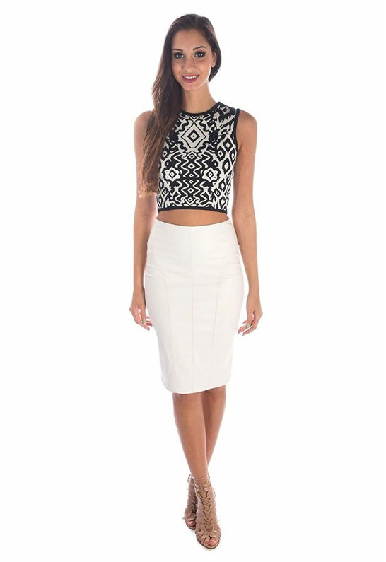 Sheri bodell Faux Leather Midi Skirt in White | Lyst