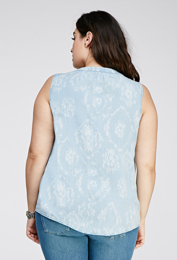 Forever 21 plus size faded chambray shirt in blue lyst for Plus size light blue shirt