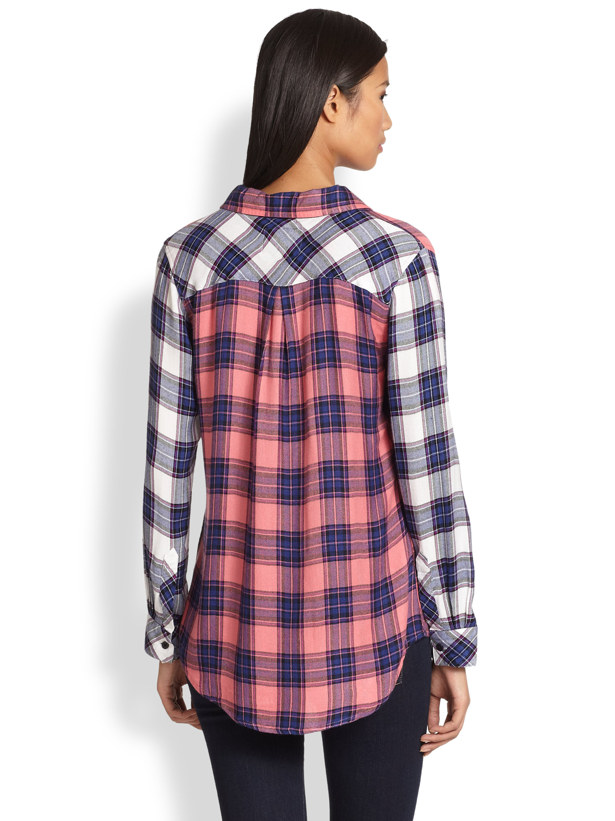 Lyst Rails Jackie Colorblock Plaid Flannel Shirt In Pink