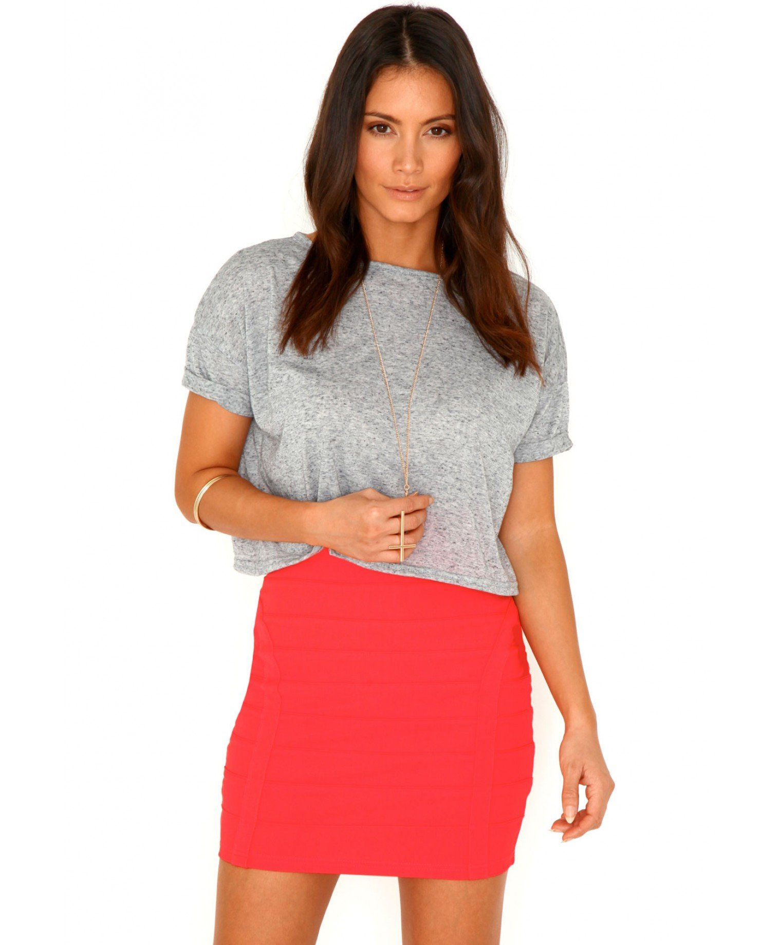 Missguided Maurine Bandage Bodycon Mini Skirt in Coral in Pink | Lyst