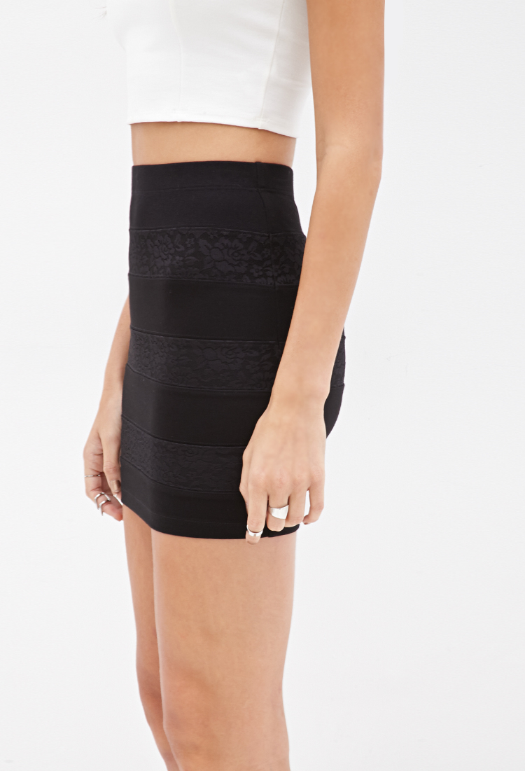 27e20f92b8 Forever 21 Lace Bandage Skirt in Black - Lyst