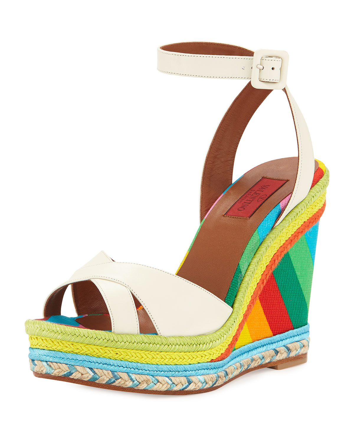 Valentino Leather Rainbow Wedge Sandal In White Lyst