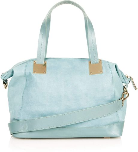 Topshop Leather Double Handle Bag in Blue (Baby Blue)