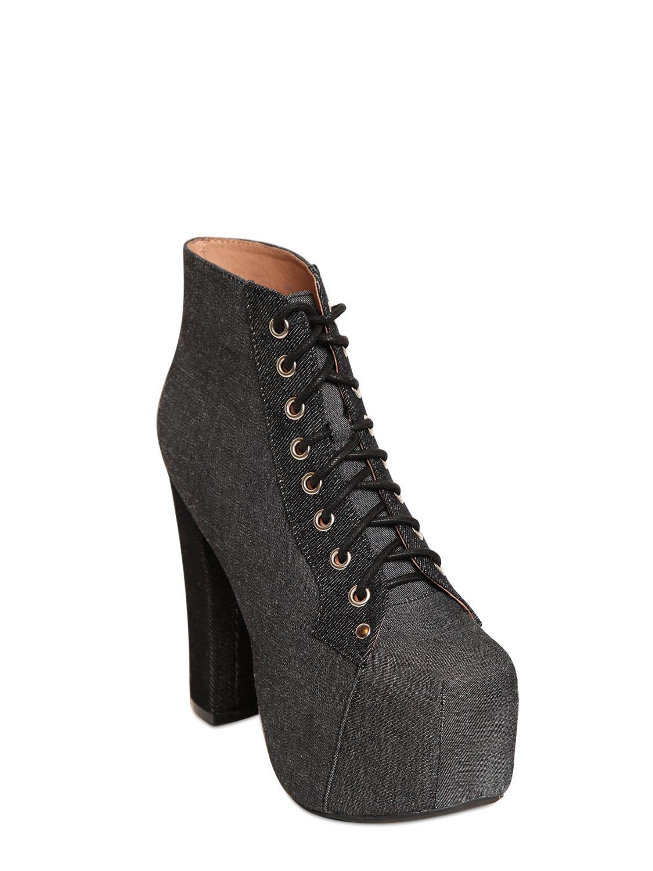 Lyst Jeffrey Campbell 120mm Lita Denim Boots In Black