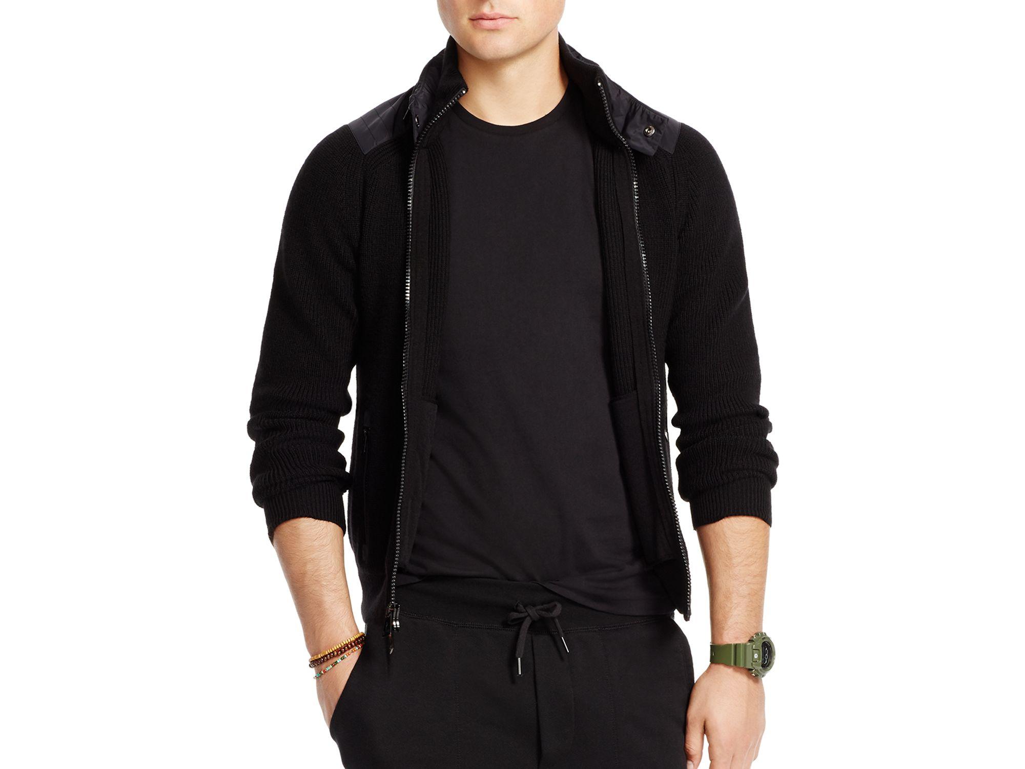Polo ralph lauren Detachable Hood Full Zip Sweater in Black for ...