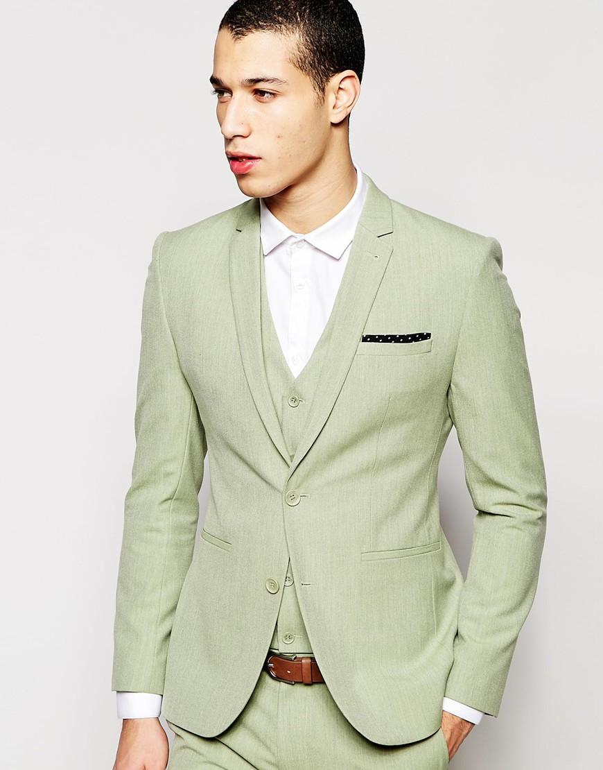 Asos Super Skinny Suit Jacket In Sage Green in Green for Men | Lyst