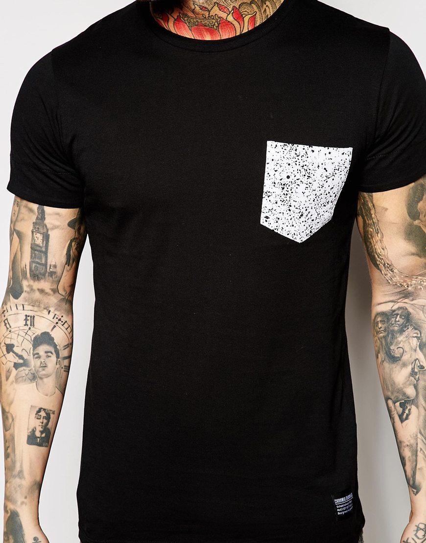 criminal damage t shirt with contrast spatter pocket in black for men lyst. Black Bedroom Furniture Sets. Home Design Ideas