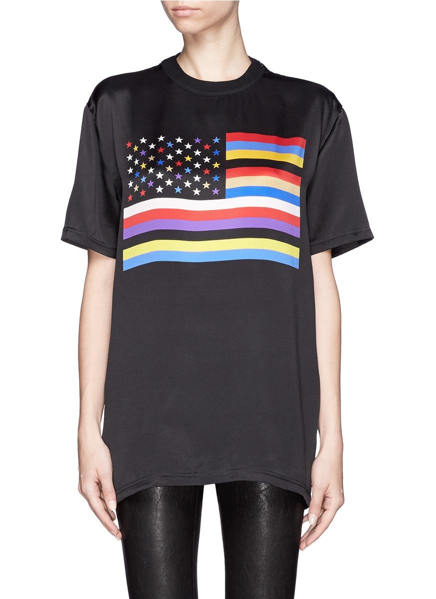 Lyst givenchy american flag print silk t shirt in black for American apparel custom t shirt printing