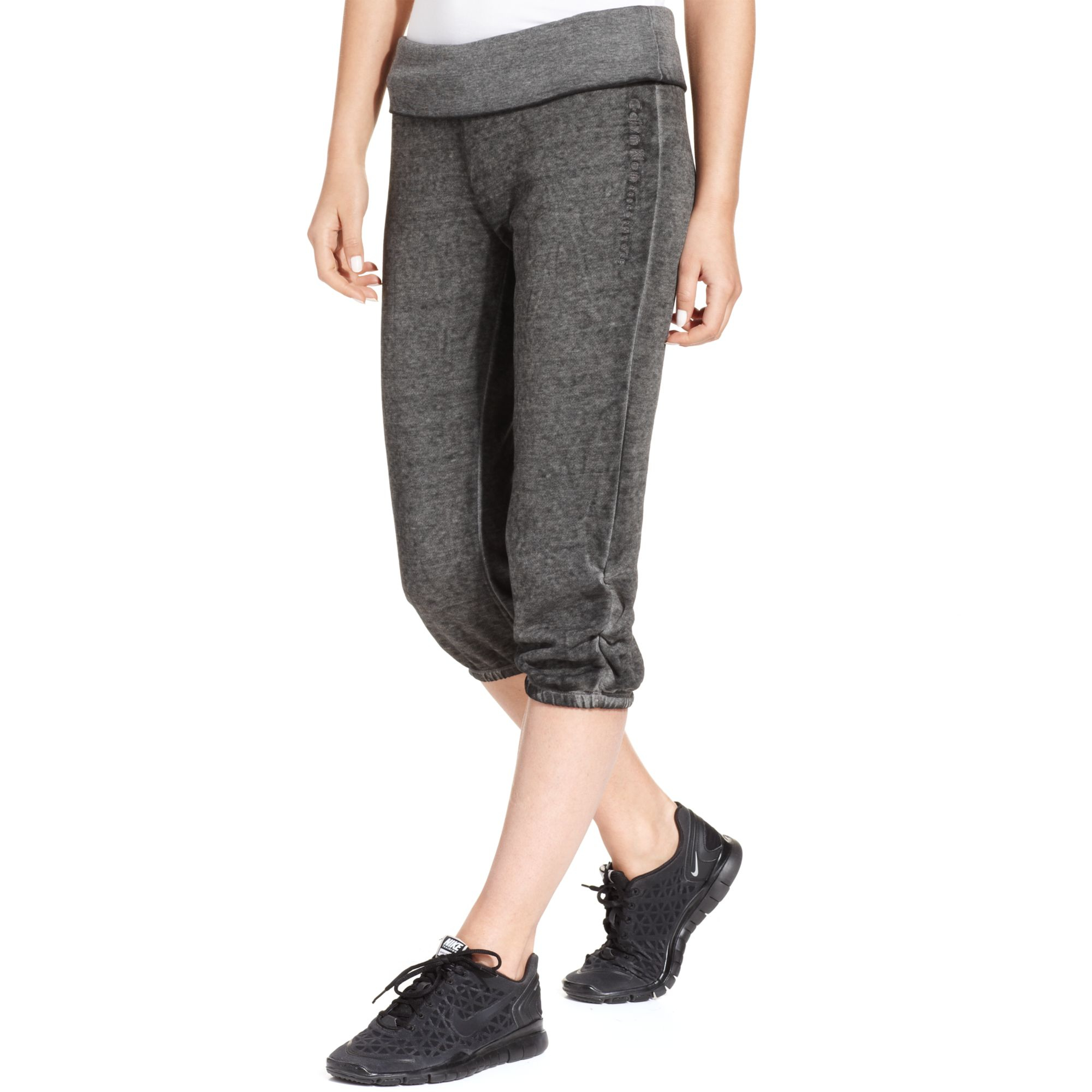 Calvin klein Performance Foldover Capri Sweatpants in Gray | Lyst