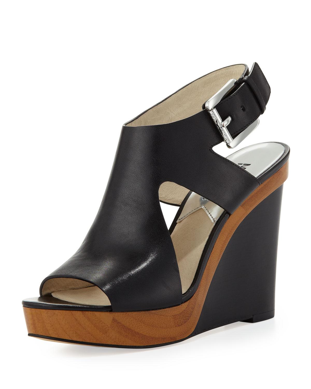Lyst Michael Kors Michael Josephine Leather Wedge Sandal