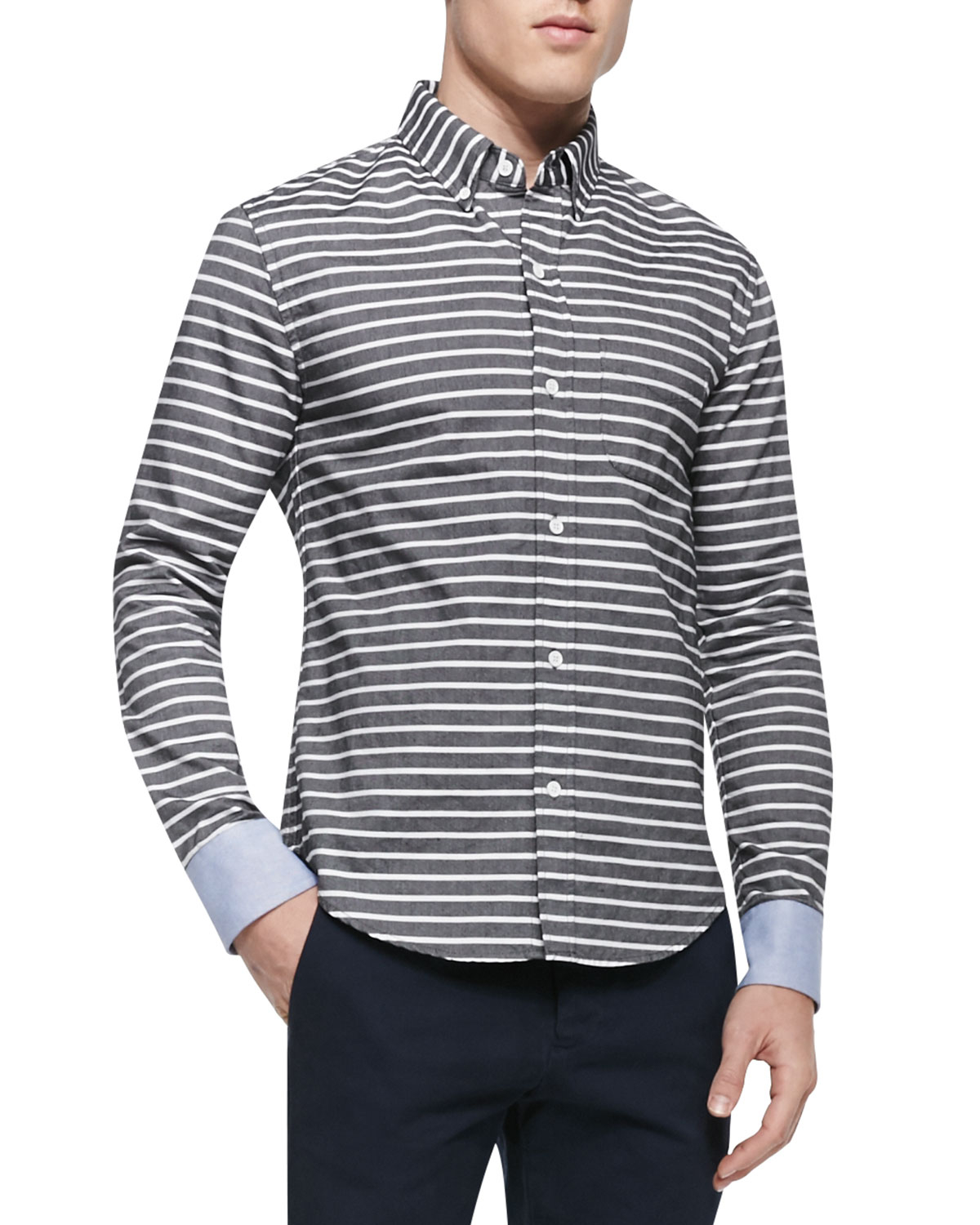 Band of outsiders horizontal stripe button down shirt in for Horizontal striped dress shirts men