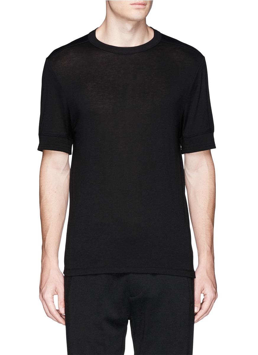 Lyst t by alexander wang silk cotton t shirt in black for Cotton silk tee shirts