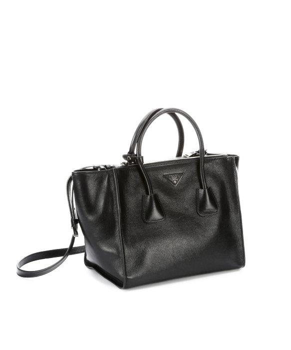 prada black grain leather tote bag