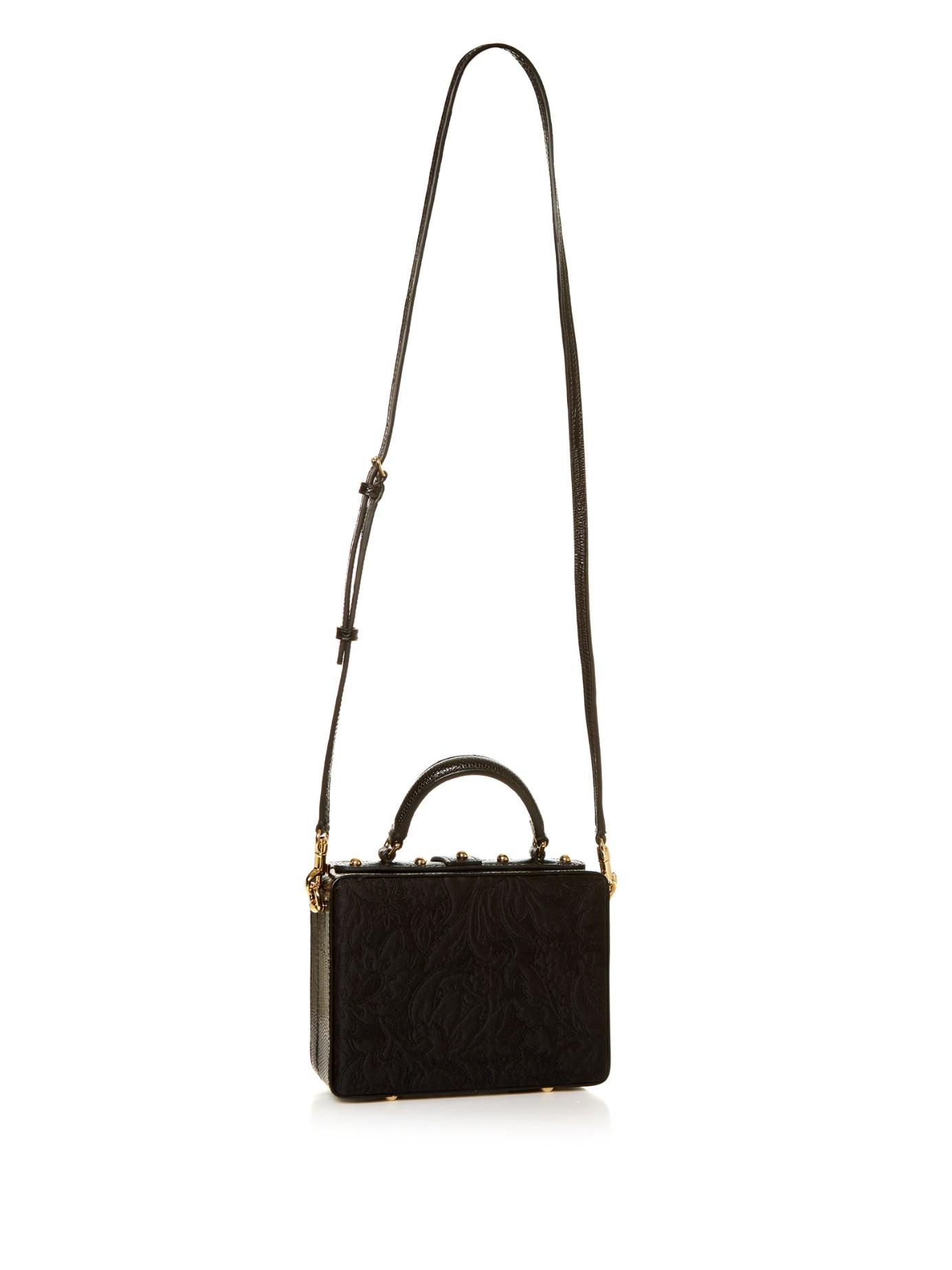 18d4389c83c9 Lyst - Dolce   Gabbana Dolce Flower-embellished Brocade Box Bag in Black