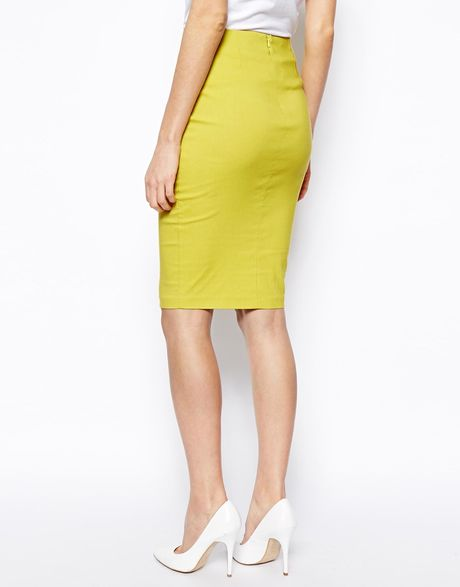 asos high waisted pencil skirt in yellow chartreuse lyst