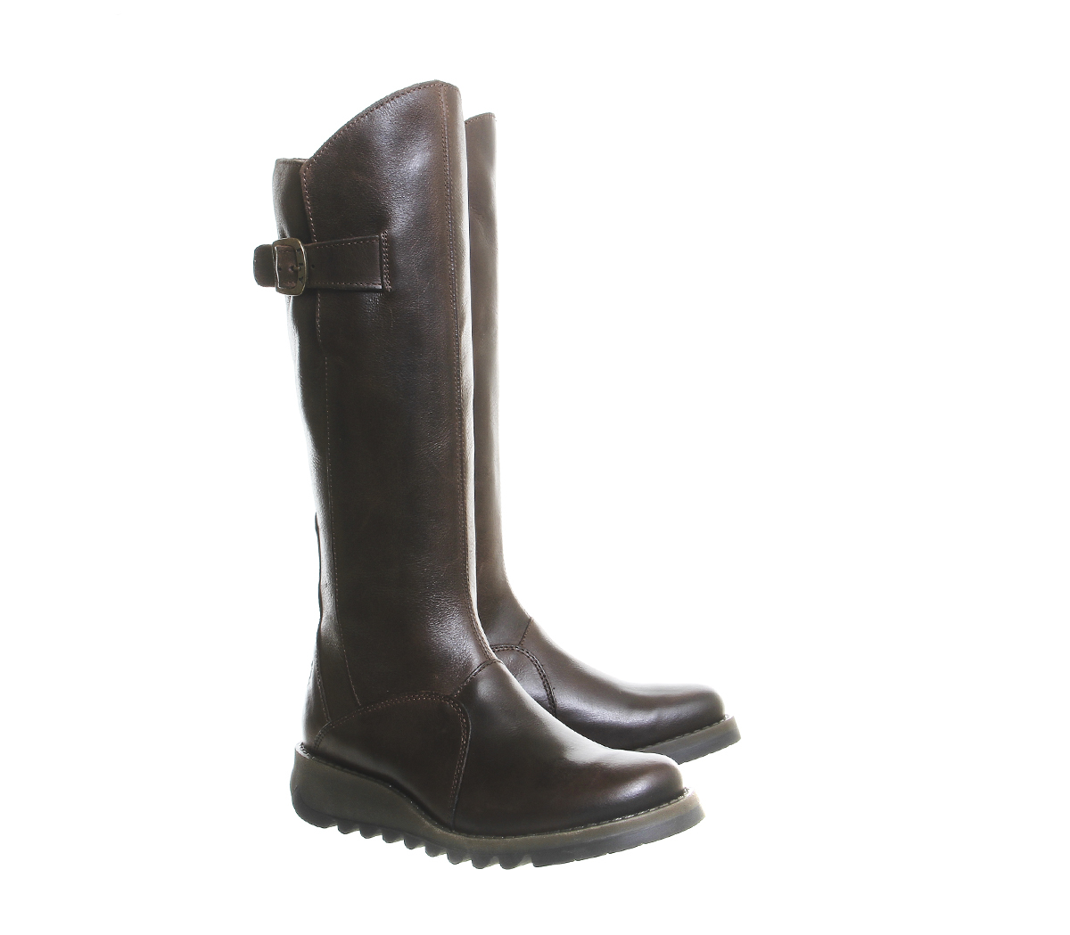 fly mol 2 low wedge buckle boots in brown lyst